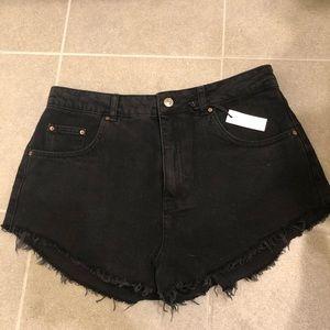 Topshop Mom black denim cut off shorts